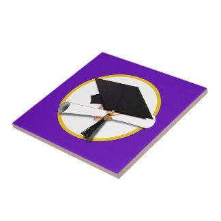 Graduation Cap & Diploma (1) Purple  Background Ceramic Tile