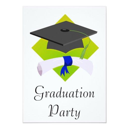 Graduation Cap & Diploma 5x7 Paper Invitation Card