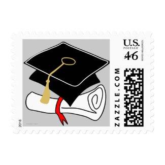 Graduation Cap Diploma Cartoon Postage