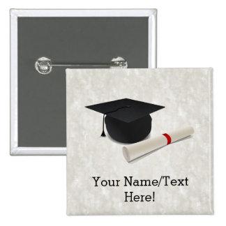Graduation Cap Diploma Customizable 2 Inch Square Button