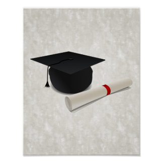 graduation cap diploma customizable poster