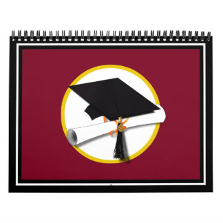 Graduation Cap & Diploma - Dark Red Background Calendar