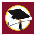 "Graduation Cap & Diploma - Dark Red Background 5.25"" Square Invitation Card"
