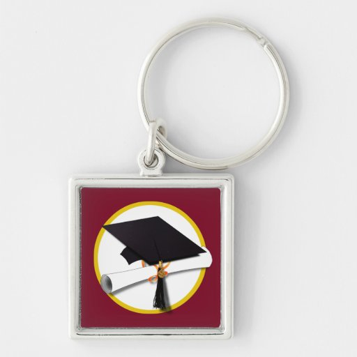 Graduation Cap & Diploma - Dark Red Background Silver-Colored Square Keychain
