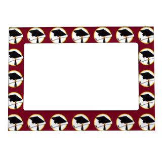 Graduation Cap & Diploma - Dark Red Background Magnetic Frame