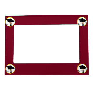 Graduation Cap & Diploma - Dark Red Background Magnetic Picture Frame