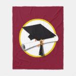 Graduation Cap & Diploma - Dark Red Background Fleece Blanket
