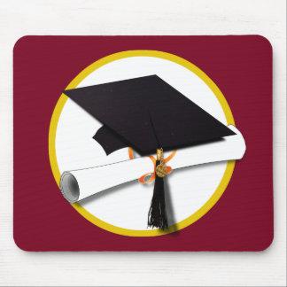 Graduation Cap & Diploma - Dark Red Background Mouse Pad