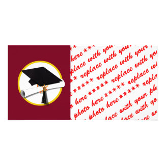 Graduation Cap & Diploma - Dark Red Background Photo Card Template