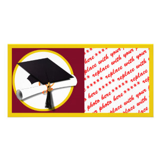 Graduation Cap & Diploma - Dark Red Background Customized Photo Card