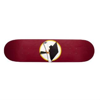 Graduation Cap & Diploma - Dark Red Background Skateboard