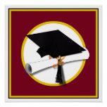 Graduation Cap & Diploma - Dark Red Background Perfect Poster