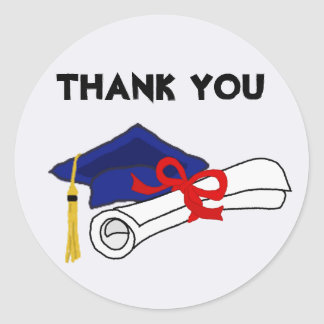 Graduation Cap Diploma Thank You Classic Round Sticker