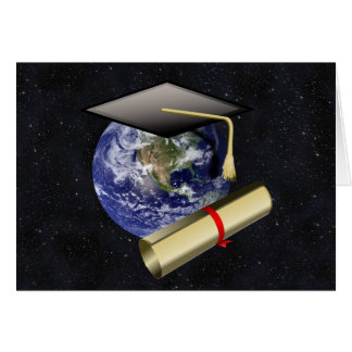 Graduation Cap, Earth w/diploma - Star Background Cards