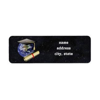 Graduation Cap, Earth w/diploma - Star Background Label