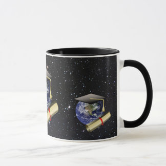 Graduation Cap, Earth w/diploma - Star Background Mug