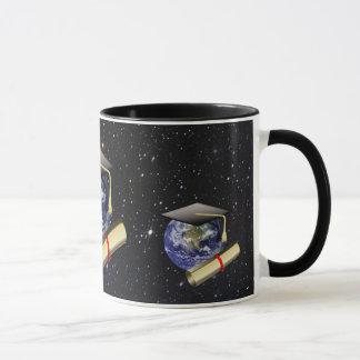 Graduation Cap, Earth w/diploma - Star Background Mug