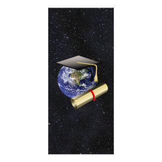Graduation Cap, Earth w/diploma - Star Background Full Color Rack Card