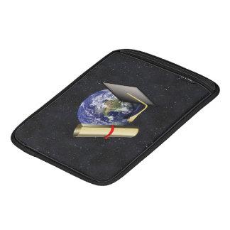 Graduation Cap, Earth w/diploma - Star Background Sleeve For iPads