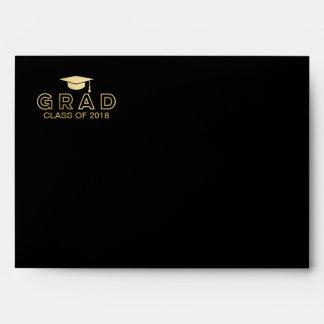 Graduation Cap Faux Foil Gold & Black Elegant Grad Envelope