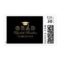 Graduation Cap Faux Foil Gold & Black Elegant Grad Postage