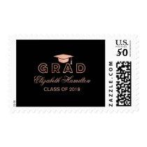 Graduation Cap Faux Foil Rose Gold Elegant Grad Postage