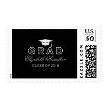 Graduation Cap Faux Foil Silver & Black Grad Postage