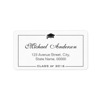 Graduation Cap Grad Graduate - Elegant Classic Address Label