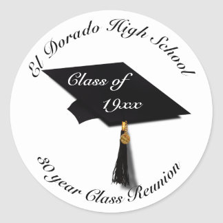 Graduation Cap - High School Reunion Classic Round Sticker