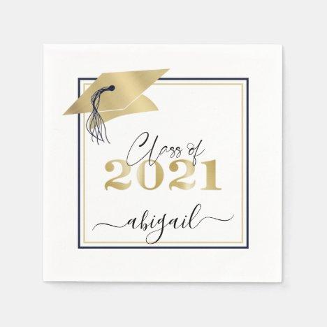 Graduation Cap Metallic Gold Script Class of 2021 Napkins