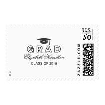Graduation Cap Modern Chic Black & White Grad Postage