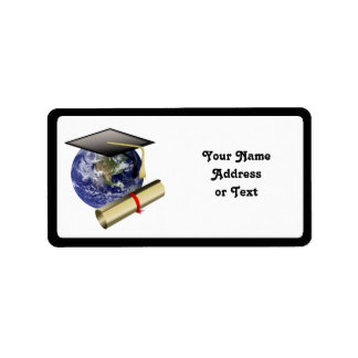 Graduation Cap on Earth with Diploma Label