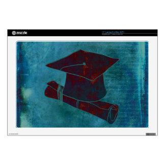 "Graduation Cap on Vintage Paper with Writing, Aqua 17"" Laptop Skins"