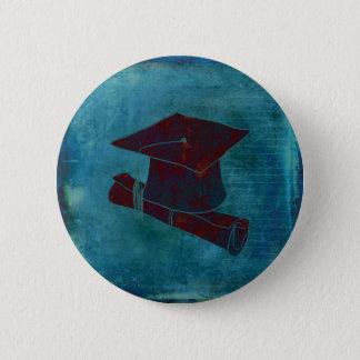 Graduation Cap on Vintage Paper with Writing, Aqua Button