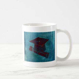 Graduation Cap on Vintage Paper with Writing, Aqua Coffee Mug