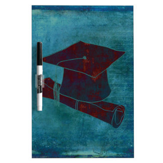 Graduation Cap on Vintage Paper with Writing, Aqua Dry-Erase Board