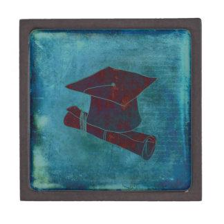Graduation Cap on Vintage Paper with Writing, Aqua Jewelry Box
