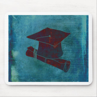 Graduation Cap on Vintage Paper with Writing, Aqua Mouse Pad