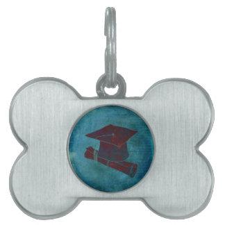 Graduation Cap on Vintage Paper with Writing, Aqua Pet ID Tag