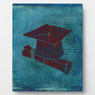 Graduation Cap on Vintage Paper with Writing, Aqua Plaque