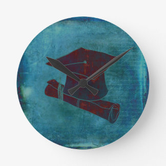 Graduation Cap on Vintage Paper with Writing, Aqua Round Clock