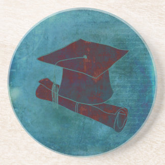 Graduation Cap on Vintage Paper with Writing, Aqua Sandstone Coaster