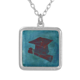 Graduation Cap on Vintage Paper with Writing, Aqua Square Pendant Necklace
