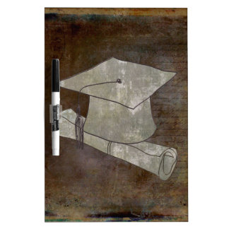 Graduation Cap on Vintage Paper with Writing Dry Erase Board