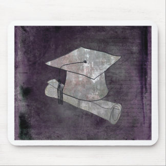 Graduation Cap on Vintage Paper with Writing Mouse Pad