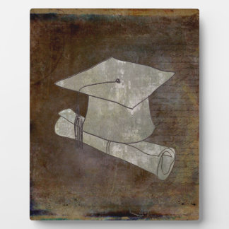 Graduation Cap on Vintage Paper with Writing Plaque