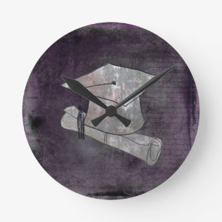 Graduation Cap on Vintage Paper with Writing Round Clock