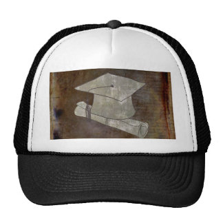 Graduation Cap on Vintage Paper with Writing Trucker Hat