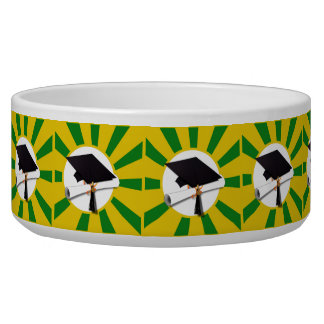 Graduation Cap - School Colors Gold and Green Bowl