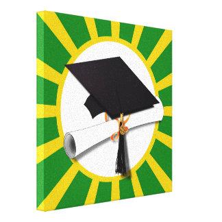 Graduation Cap - School Colors Gold and Green Canvas Print